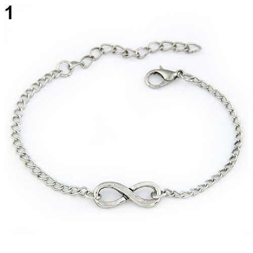 Stylowy Punk metalowe początkowa bransoletka bransoletki urok łańcucha Link regulowany kobiety bransoletka moda biżuteria 5 style 56OH 7EVG 9RQC