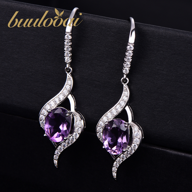 buulooai Real 925 Sterling Silver Amethyst Drop Earrings For Women Gemstone Amethyst Female Earrings Wedding Valentine's Jewelry