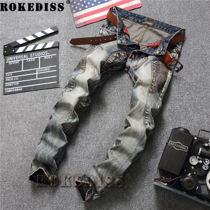 Skinny jeans men 2017 Spring and Autumn New personality Splicing Retro Straight pants Punk style locomotive trousers Men C167 grey 2015 spring male personality splice skinny pants the trend straight trousers slim long trousers thin men skinny jeans