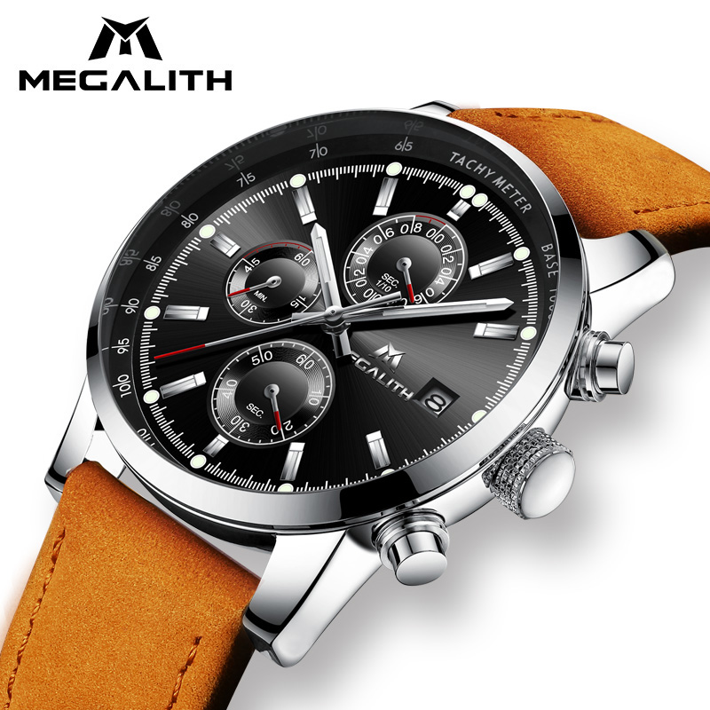 MEGALITH Mens Watches Military Sport Waterproof Chronograph Date Wrist Watch Gents Business Brown Leather Quartz Watch Men Clock megalith quartz watches mens waterproof chronograph calendar silver stainless steel wrist watch gents sport business men s watch