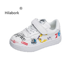 Hilabork 2018 autumn new boys cartoon leather casual shoes girls breathable  lightweight running shoes non- e9e5dfc92e70