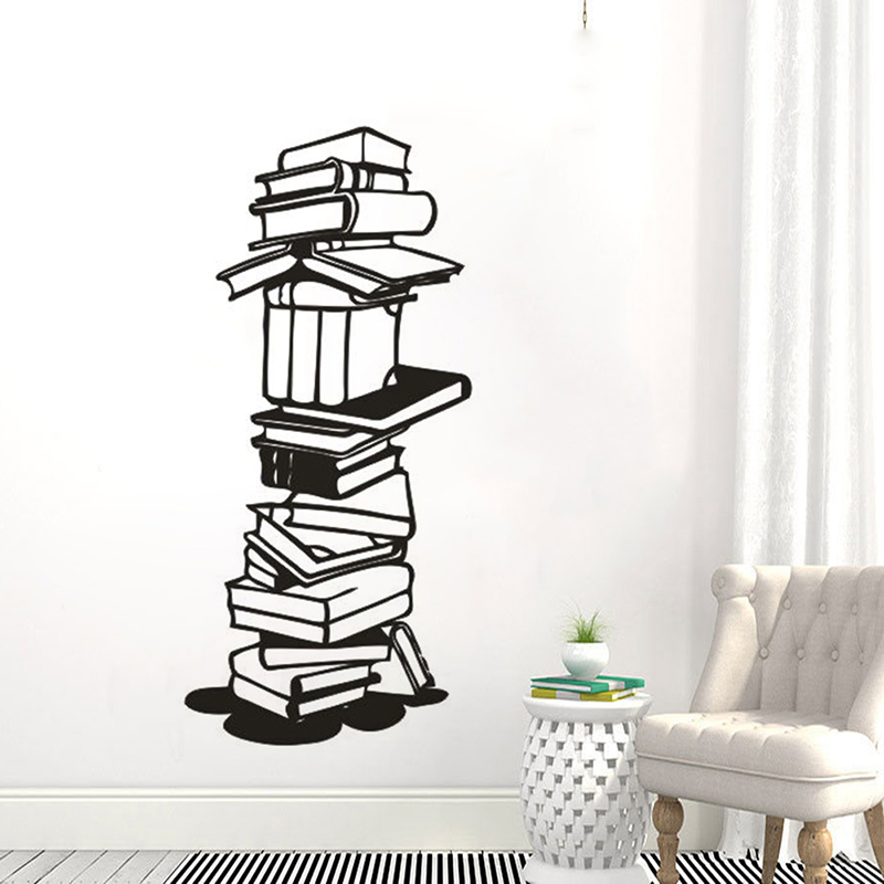 Read Wall Sticker Study Room Decoration Vinyl Libary School Books Wall Decal Book Store Wall Art Mural Libary Decor W137 in Wall Stickers from Home Garden