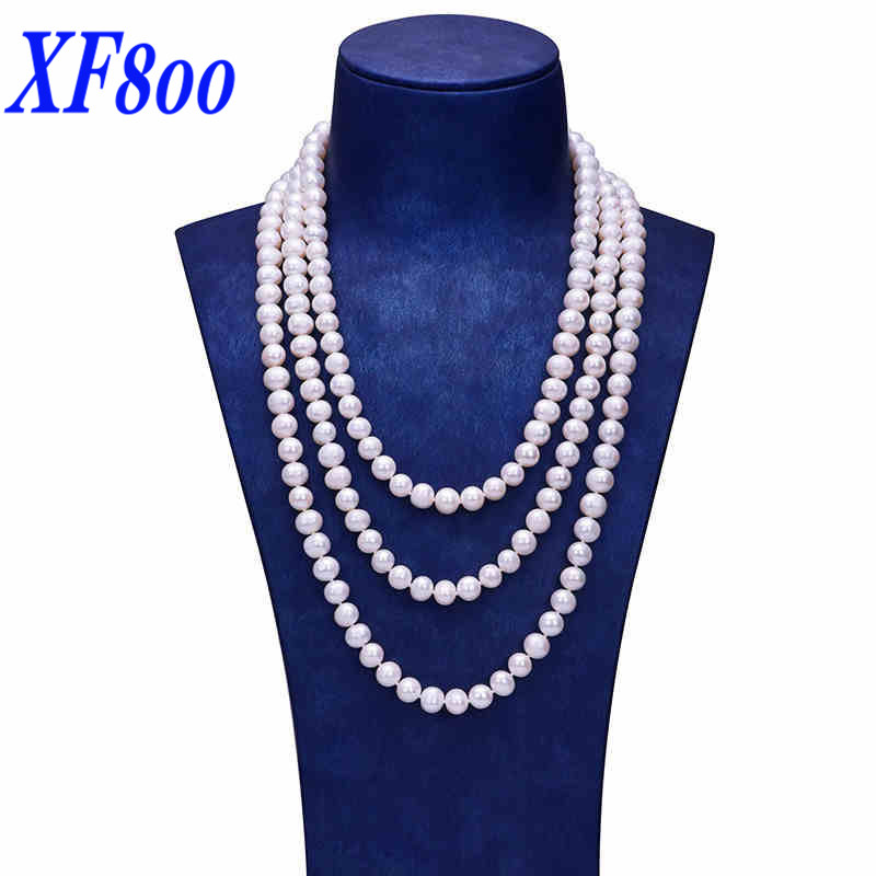 XF800 Natural Freshwater Pearl Necklace 160 cm & 8-9mm Near Round Shape Long Pearl Sweater Necklace All Match Gift For Women S96 купить в Москве 2019