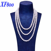 XF800 Natural Freshwater Pearl Necklace 160 cm & 8 9mm Near Round Shape Long Pearl Sweater Necklace All Match Gift For Women S96