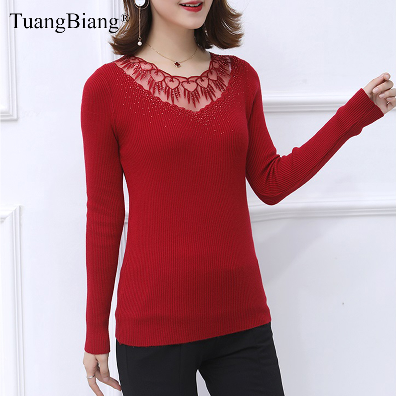 Ladies Lace Patchwork Hollow Out Elasticity Sweaters Autumn Basic Women Diamonds O-Neck Pullovers Knit Long Sleeve Jumpers 2019