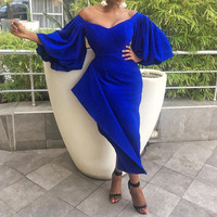 Sexy Royal Blue Dress Long Party Club Evening Dinner Vestiods Off Shoulder Backless Short Puff Sleeve Maxi Ruffles Dress Elegant