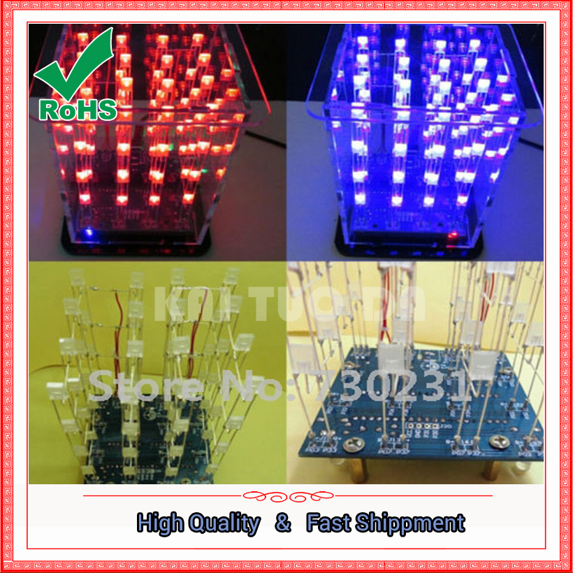 Free Shipping New Colorful 4*4*4 3D LED Light Squared White LED Blue & Red Ray LED Cube DIY Kit