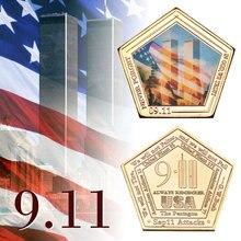 WR США 911 коллекционные позолоченные монеты мировой торговый центр Две башни памятная, металлическая монета для коллекционирования бизнес подарок