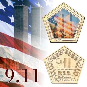 WR EE. UU. 911 colección chapados en oro monedas centro de comercio mundial de las Torres Gemelas conmemorativa moneda metálica para coleccionismo regalo de negocios