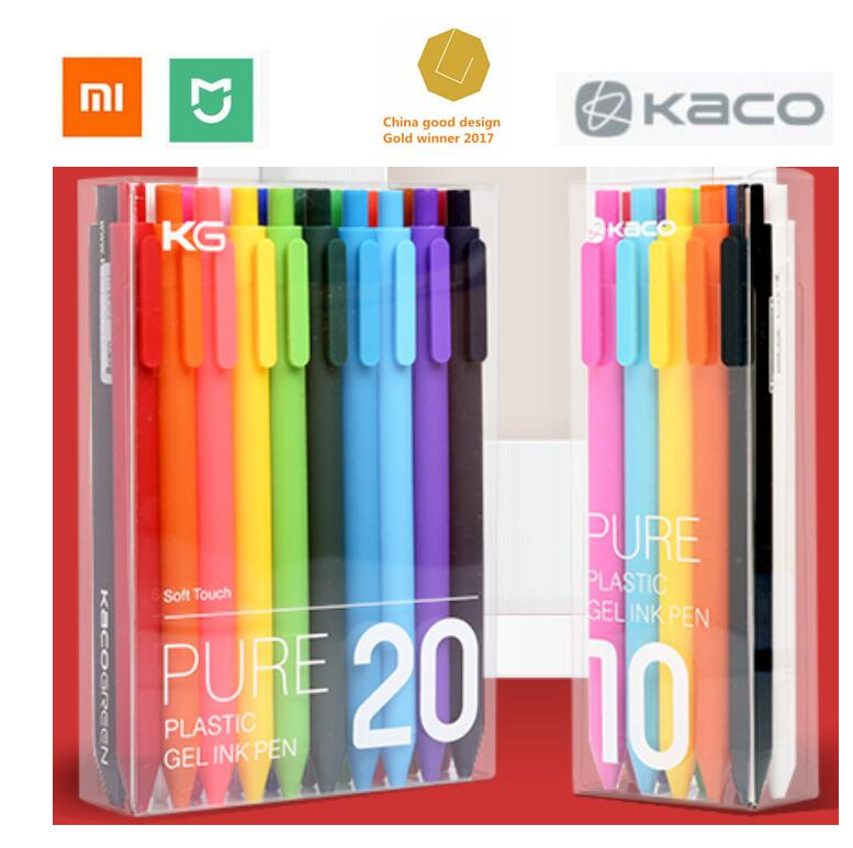 Xiaomi mijia Colorful sign pen KACO 20 / 10 colors 0.5mm pen write length 400M PK ABS plastic gel roller ball pen gift case original xiaomi mijia pen kaco sky 0 3mm 0 4mm pen with gift pen box case used to eu adater for xiaomi mi home smart home