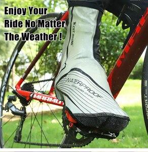 Image 5 - WEST vélo chaussures de cyclisme couverture pleine fermeture éclair imperméable à leau hiver thermique vélo couvre chaussures vtt vélo couverture Copriscarpe Ciclismo