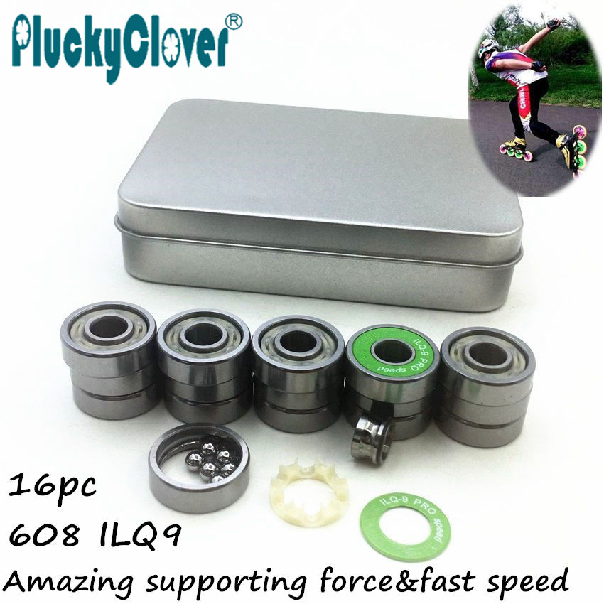 16 pcs/set Pro ILQ-9 8mm bearing 608-rs Slalom Seba Roller Skates Bearing FSK Skateboard Bearing 608 Scooter Wheel Bearing 608rs