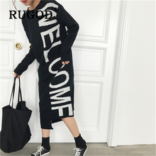 RUGOD 2019 new Korean chic letter knitted women dress Fashion round neck long sleeve straight sweater dresses winter loose