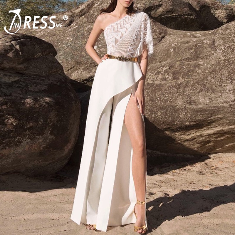 INDRESSME 2019 New Women Summer Lace Mesh One Shoulder Slit Wide Legs Pants Stylish White One-piece   Jumpsuit   Party