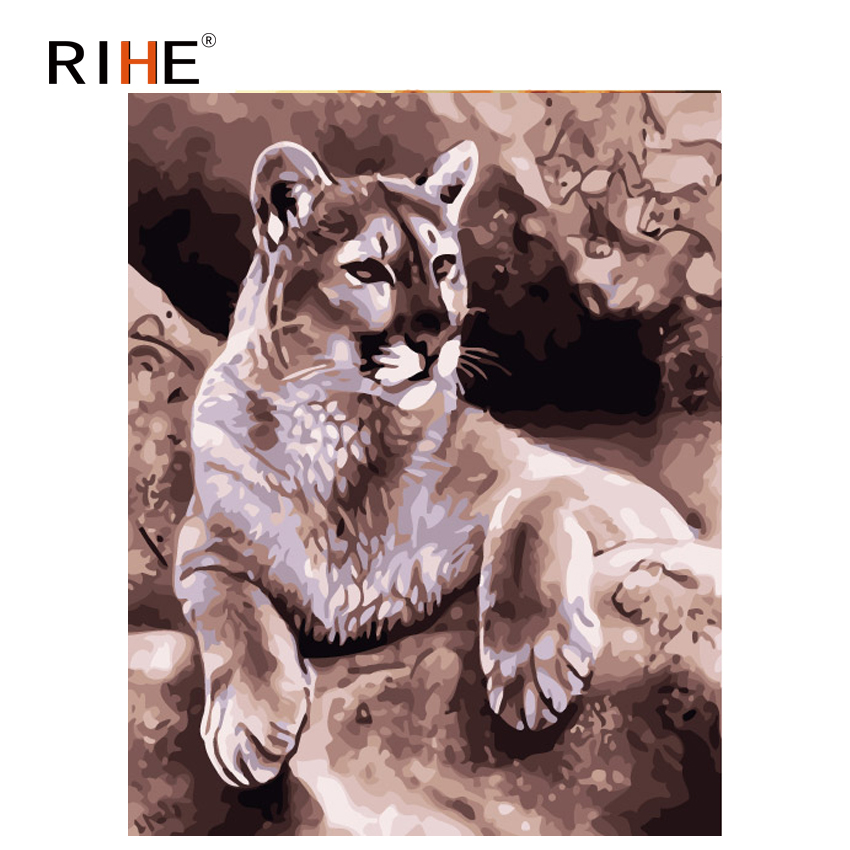 RIHE Fierce Leopard Diy Painting By Numbers Animal Oil On Canvas Hand Painted Cuadros Decoracion Acrylic Paint 40X50CM