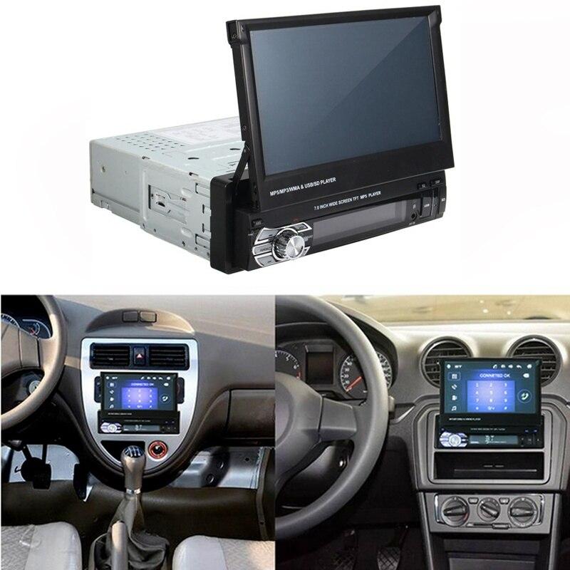 Hd Rétractable Écran Tactile Moniteur Dvd Mp5 Sd Fm Usb Lecteur De Voiture Stéréo Audio Autoradio Automotivo Bluetooth 1din 7 pouces