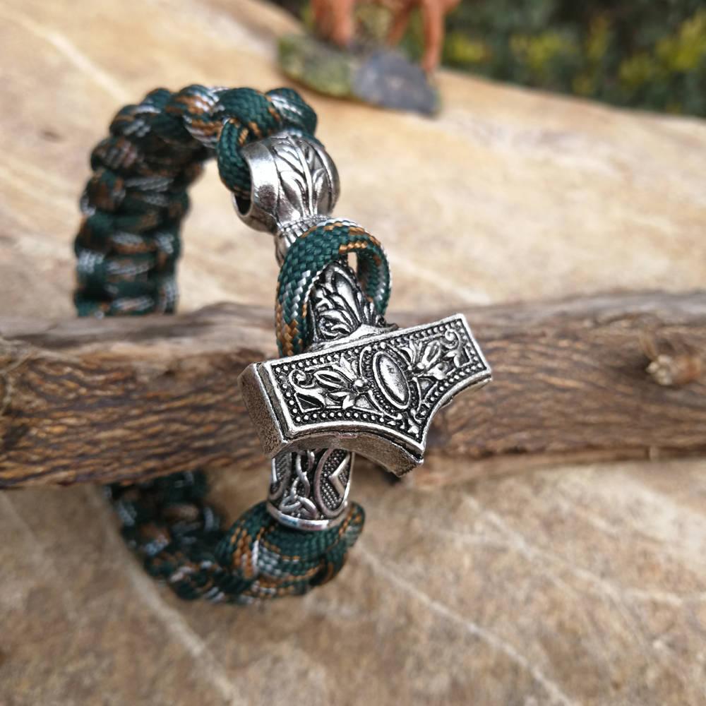 Paracord Bracelet Replaceable Norse Viking Runes Beads Braided Bracelet Men Bracelets Thor Hammer Rope Bangles for Men Jewelry (5)
