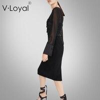 Ранняя весна Новая мода Тонкий с длинным рукавом платья для женщин средней длины и черный в Европе и Америке