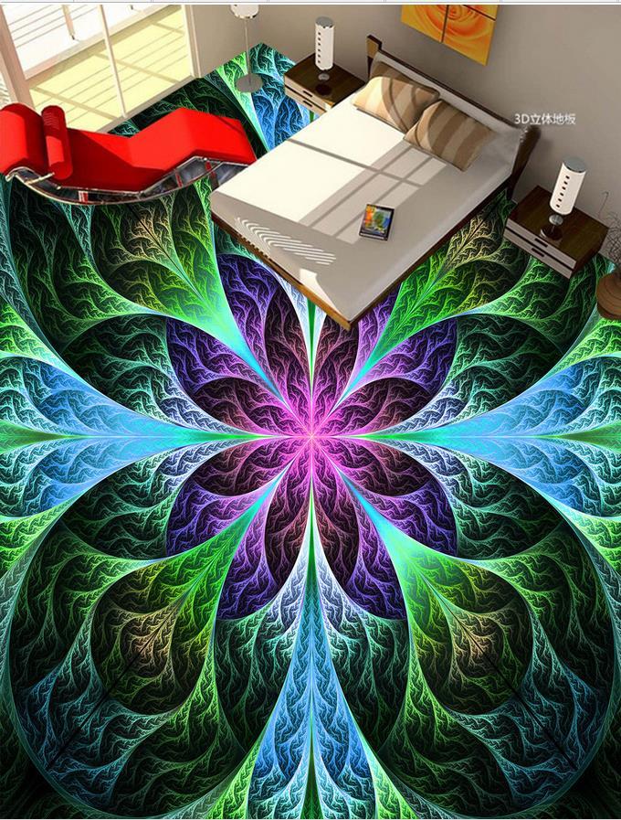 Custom 3d photo wall paper floor Colorful 3D painted floor tiles 3d wall murals wallpaper floors Home Decoration