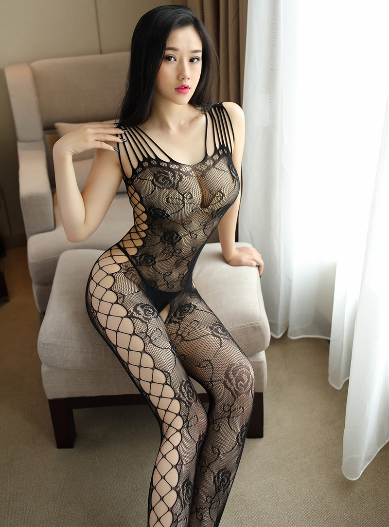 eed3dc251c 2018 Hot Selling Sex Lingerie Black Sexy Shoulder Bodystocking Open Crotch  Rose Fishnet Sexy Elastic Intimates Women Tights