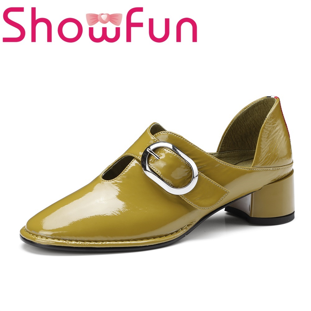 Showfun genuine leather shoes woman office&career concise buckle strap square heel pumps showfun 2018 genuine leather retro faux