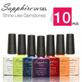 10Pcs Sapphire Gel The Best UV Gel 7.3ml Color Bottle Soak Off Nail Gel Polish 14 Days Long lasting Gorgeous Color
