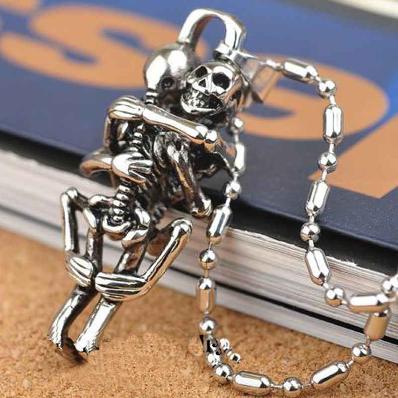 Tibet Silver Men Infinity Black Stainless Steel Skull Charms Chain Necklace
