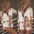 2016 spring summer long sleeve casual jumpsuit designer brand women flower floral print deep v-neck sexy playsuit shorts rompers