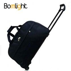 Bomlight novo saco de bagagem à prova dthick água estilo grosso rolando mala trole bagagem feminina & men mala de viagem com rodas