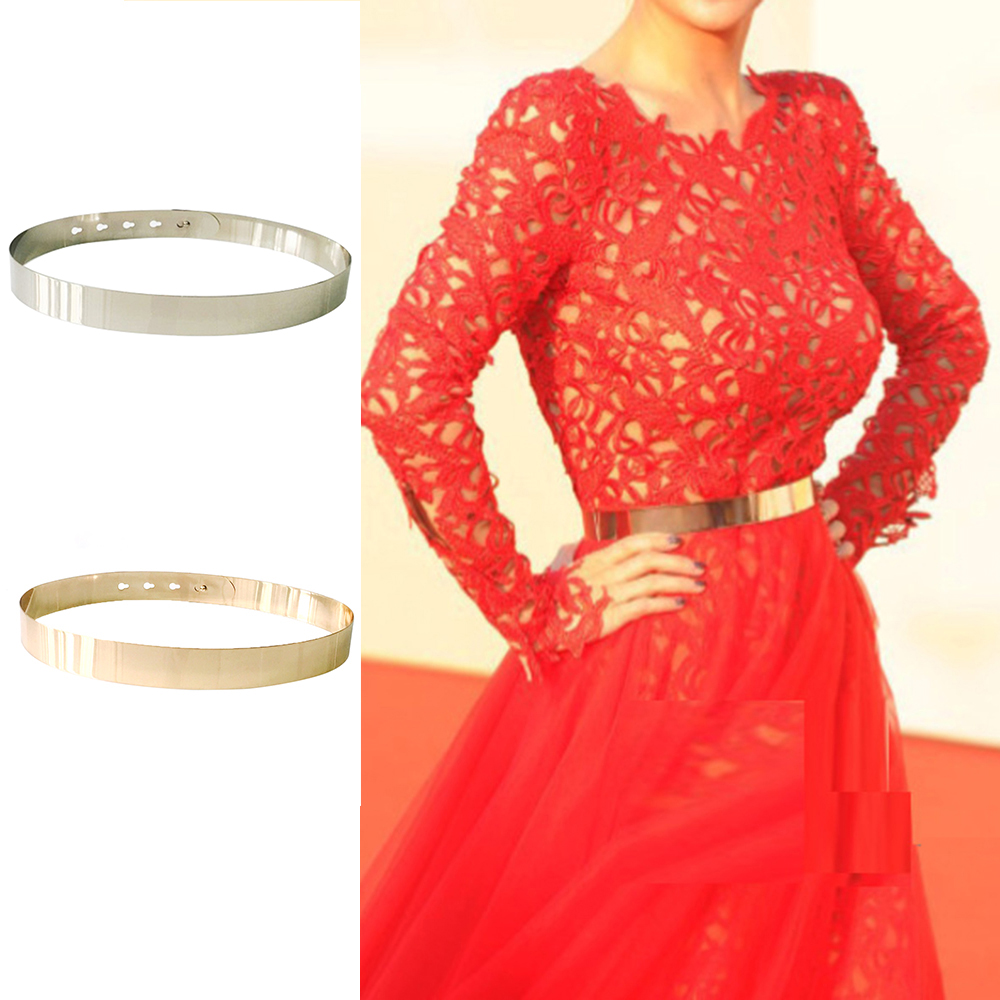 Fashion Women Adjustable Metal Waist Belt Metallic Bling Gold Silver Color Plate Vintage Lady Simple Belts