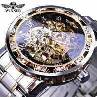 T-WINNER Мужские механические часы, Модные полые Роскошные Дизайнерские деловые часы для мужчин s 2019, мужские наручные часы erkek kol saati