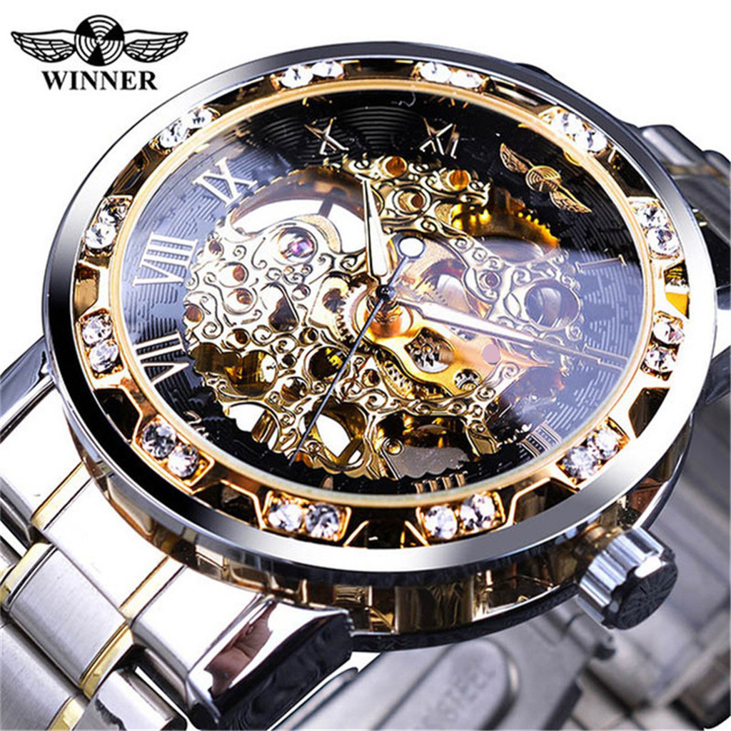 T-WINNER Man Mechanical Watch Fashion Hollow Luxury Design Business Watches Mens 2019 Men Wristwatch Clock Erkek Kol Saati
