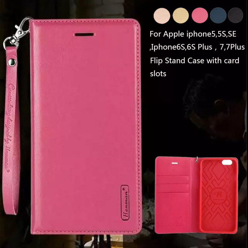 Luxury Wallet Genuine Leather Lanyard Flip Stand Card Holder Cover Case For iPhone 5 5S 5SE SE 6 6S 7 Plus Phone Bag Case