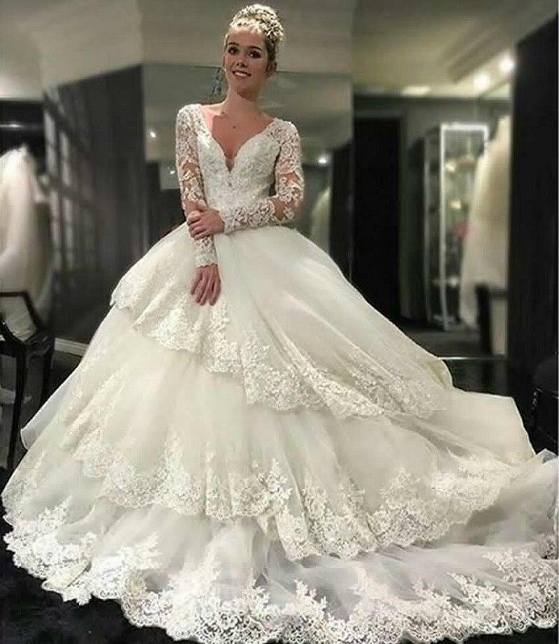 Elegant Ball Gown Wedding Dresses V Neck Long Sleeves Luxury Lace