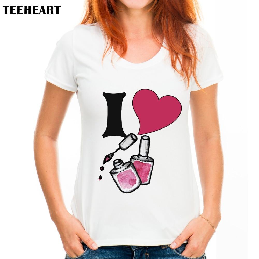 2017 Women Fashion Nail Polish Design T Shirt Novelty Tops