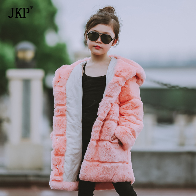 4ef2e242782df Winter Kids Rex Rabbit Fur Coats Children Warm Girls Rabbit fur Jackets  fashion Thick Outerwear Clothes