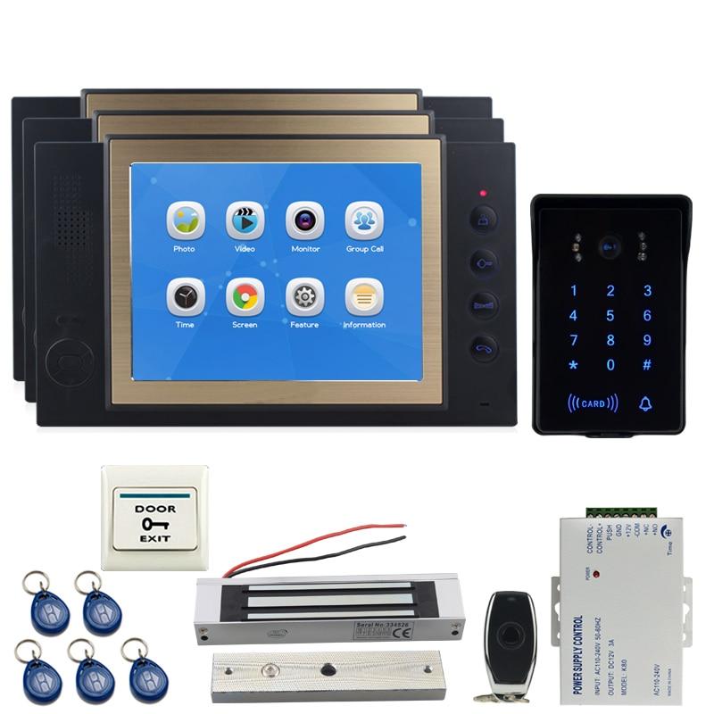 JEX 8`` Video Door Phone Doorbell Voice/Video Record Intercom System Kit 3 Black Monitor+Waterproof Password Keypad RFID Camera