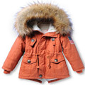 Thicken Warm Boys Girls Winter Autumn Solid Long Style Casual Fur Collar Down Jackets Hooded Cotton Parkas Outwear for 2-15T