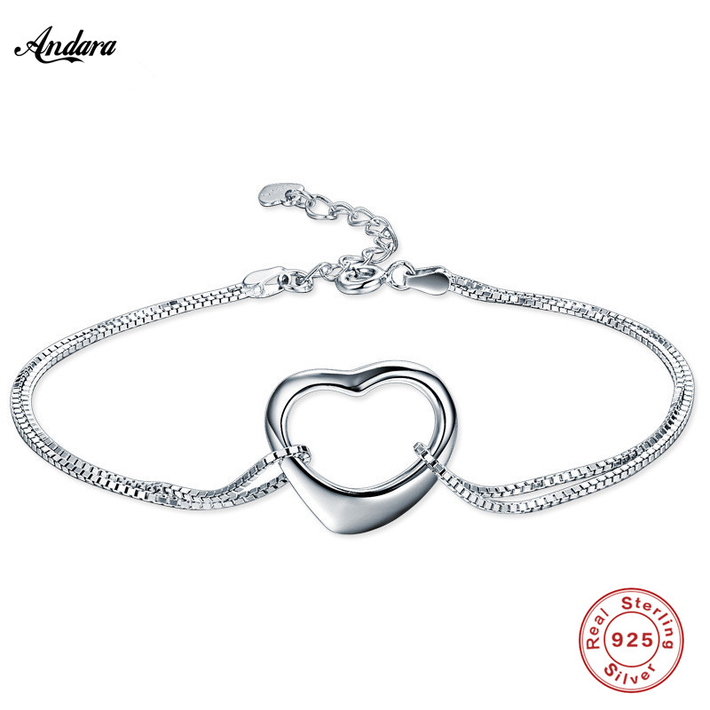 <font><b>ANDARA</b></font> Hot Sale 925 Silver Bracelet Women Link Double row Bracelet Authentic Silver Jewelry Gift image