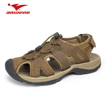 Cool Summer Men Trekking font b Sandal b font Hard wearing Closed Toe Leather Sport Outdoor