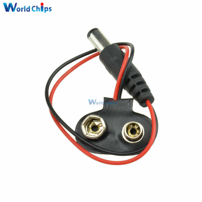 5Pcs T-Type 9V Battery Clip Battery Holder With 15cm Cable Wire Lead Snap-on Terminal Connector Socket Diy Kits for Arduino