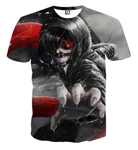 Tokyo Ghoul Graphic T-Shirts Tees Short Sleeves Summer Ken Kaneki