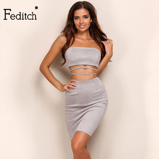 a7657f014221 Feditch Suede Leather Bodycon Winter Dress Women Sexy Cut Out Sheath Vestidos  2017 New 2 Piece