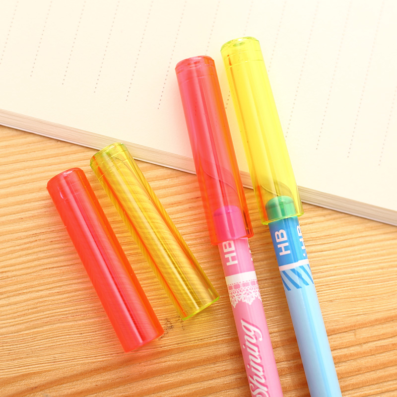 6pcs/lot Pencil Cap Colorful Cute Kawaii Silicone Pencil Protection Cap Pencil Extender Pen Topper Stationery School Supplies