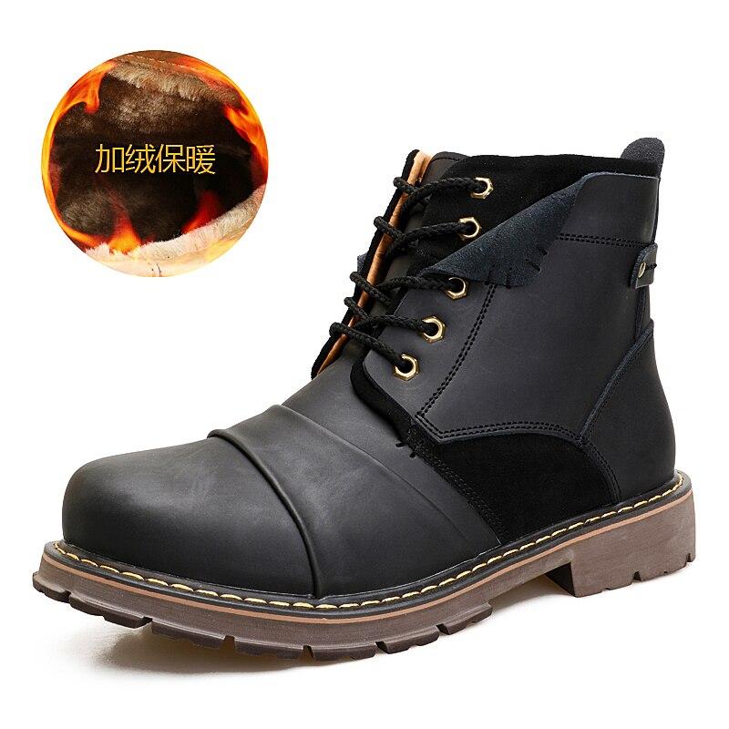 45 Sapatos Pele brown Homens Genuína Black Marrom De Size Neve Thestron Plus Quente Botas Velvet Masculino black Com Velvet 2018 Inverno brown Couro Preto wqIvxYf