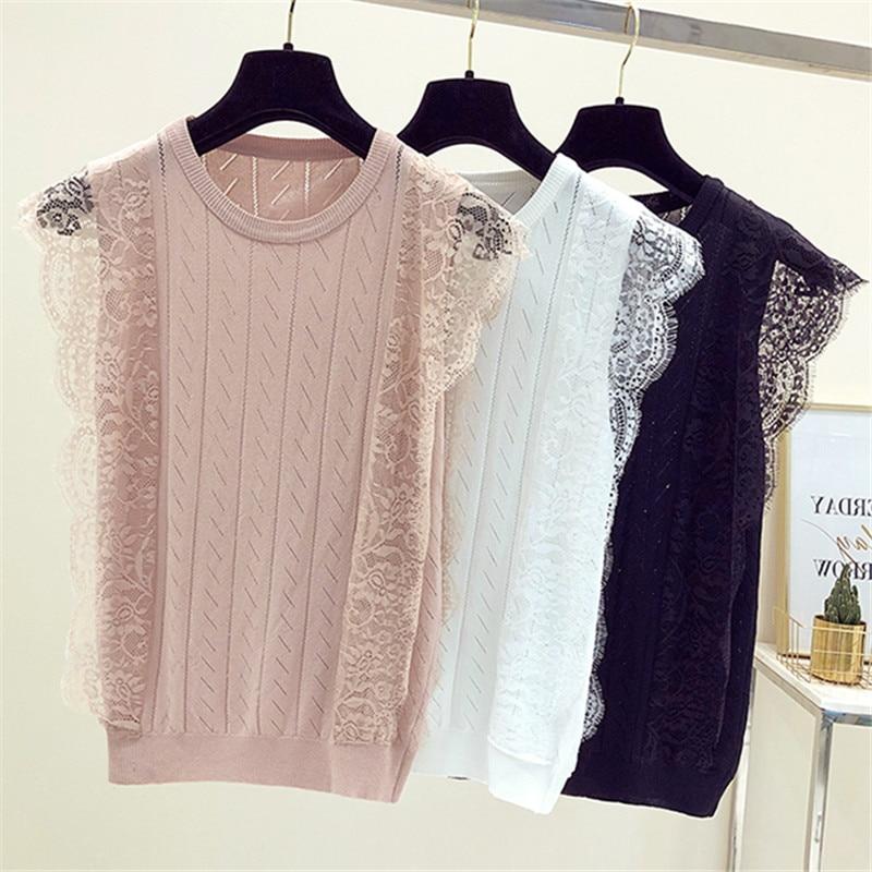 Prairie Chic summer new women girls lace knitted thin vest female sleeveless Ice silk T-shirt INS super shirt slim Tank Tops