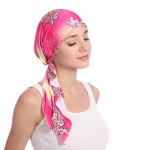 Image 4 - Мусульманская женская шапка тюрбан головной шарф Эластичная Повязка Бандана Хиджаб Кепка против выпадения волос с цветочным принтом Кепка для химиотерапии индийская мода