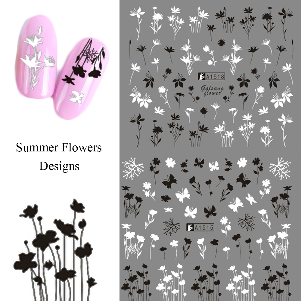 Image 2 - 12 Designs Russian Letter Water Nail Stickers Sexy Girl Flower Leaf Sliders For Nail Wraps Manicure Decor Tattoo LAA1513 1524-in Stickers & Decals from Beauty & Health