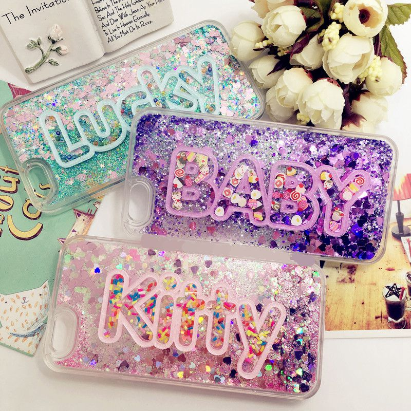 Pretty 3d Exclusive Customize Name Personal Heart Glitter Liquid Quicksand soft Case for Iphone 11 pro 6 6S 7 8 X PLUS XS max XR