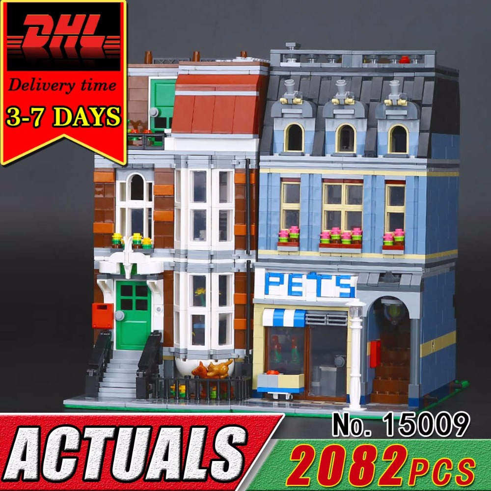 DHL LEPIN 15009 City Street Building Blocks Pet Shop Supermarket Model Compatible 10218 Bricks Educational Classic Toy Child Kid lepin 02012 city deepwater exploration vessel 60095 building blocks policeman toys children compatible with lego gift kid sets